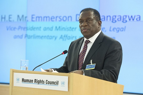 The new President of Zimbabwe, Emmerson Mnangagwa, as he appeared last year at the March Human Rights Council meeting. Credit: UN Photo /Jean Marc Ferré