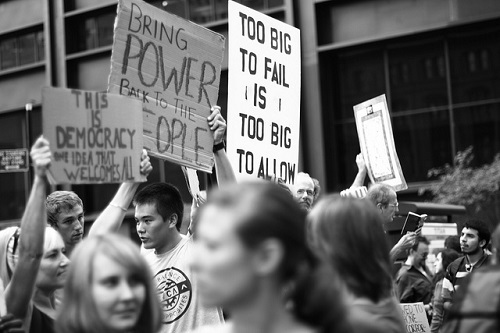 Caption: The Occupy Wall Street movement, Liberty Park, NYC, October 10, 2011. Credit: Aaron Bauer