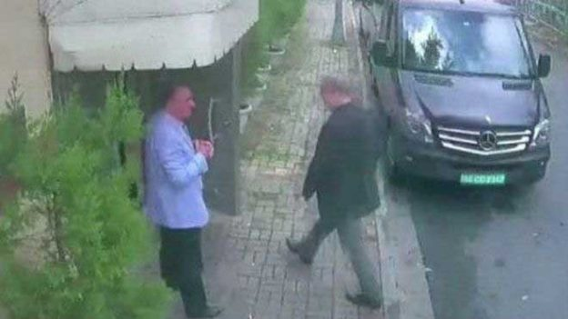 Caption: Mr. Khashoggi was last seen walking into the Saudi Consulate about 1:30 p.m. on Oct. 2.