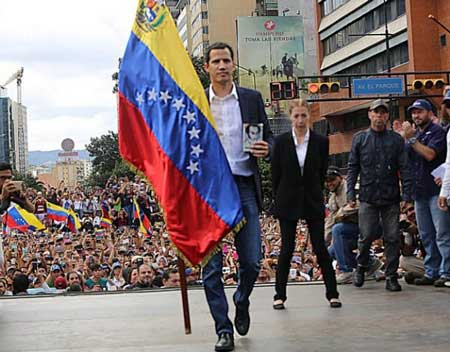 Congressman Juan Guaidó of the Popular Will party, president of the National Assembly since Jan. 5, was sworn in on Jan. 23 before a crowd as Venezuela's (disputed) interim president. Credit: National Assembly of Venezuela