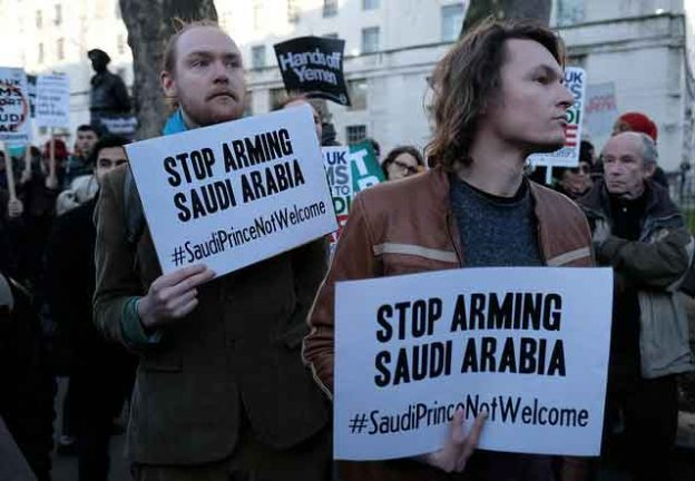 The first large protest in London against the Saudi bombing of Yemen, equipped and supported by the United Kingdom and the United States. March 7, 2018 Credit: Alisdare Hickson