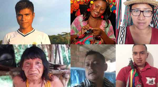 Six of the 28  Latin American indigenous rights defenders murdered in 2019. Credit Cultural Survival